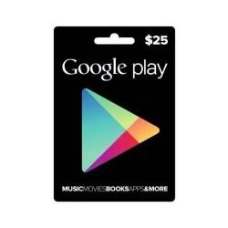 Google Play Store Gift Card Tarjeta Regalo $25