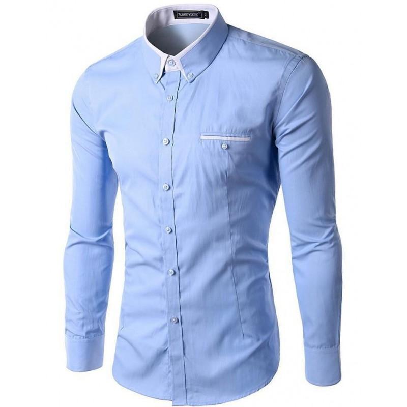 Camisa casual para caballeros celeste