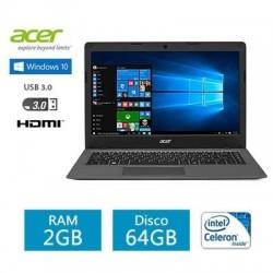 "Notebook Acer One Cloud Celeron N3050 Windows 10 RAM 2GB SSD 64GB 14"""