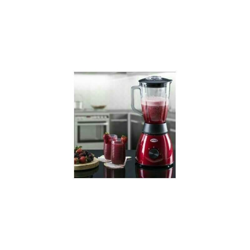 Licuadora metálica con Vaso de vidrio con capacidad de 1.5 litros Roja Umco