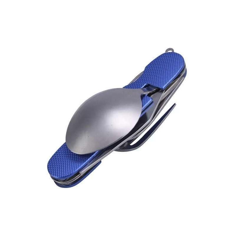 Navaja Táctica Militar Con Cuchara Y Tenedor Azul con estuche