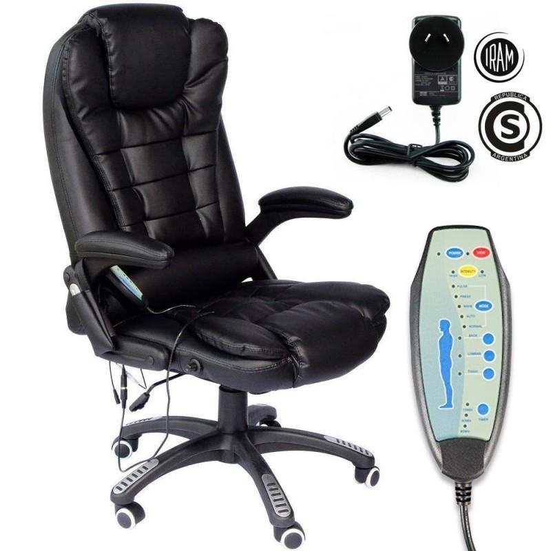 Sillón silla gerencial giratoria de cuero con masajeador