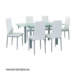 Mesa de Comedor Clear Glass con 6 sillas blancas