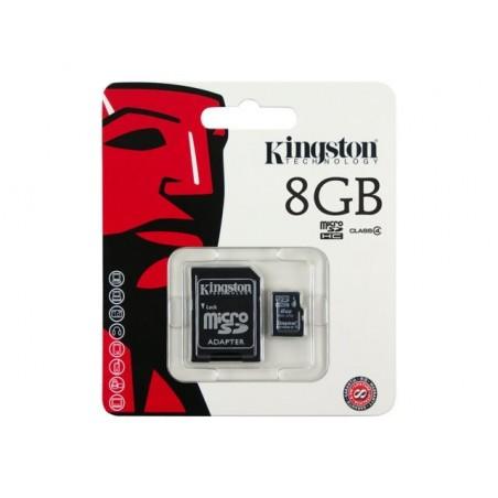 Memoria MicroSD Kingston de 8GB con Adaptador Para Android