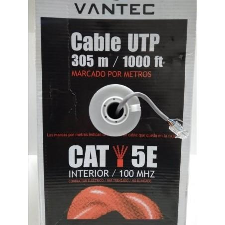 Cable UTP Categoria 5e 305MTS  Vantec 24AWG Exterior M4 CCA