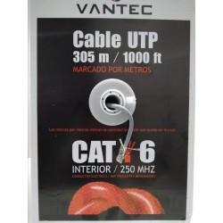 Cable UTP Categoria 6 rollo de 305 metros Vantec 23AWG Exterior M7 CCA-E